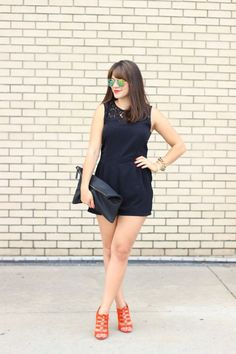 black romper and red