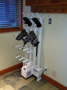 Dry just about anything with a Williams Direct Dryer. From sporting equipment like ski boots and gloves, hockey gear and work wear. Garage Storage Solutions, Storage Ideas, Storage Organization, Organizing, Boot Dryer, Sports Storage, Ski Rack, Boot Storage, Ski Decor