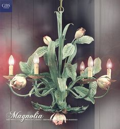 Magnolia Chandelier. Hand painted wrought iron. Six lights version. Made in Italy. GBS Firenze since 1925