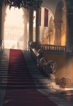 #concept #art #design #mood #architecture #europe #medieval #environment #stair #lion #fantasy #bancone