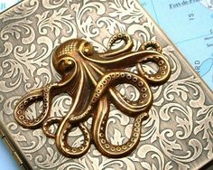 Cigarette Case Brass Octopus Nautical Steampunk Style Gothic Victorian Antiqued Gold Rustic Brass Finish Vintage Inspired Slim Metal Case