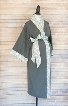 Sadie Maternity Kimono Robe - Super Soft Gray Microfleece - Add a Labor and Delivery Gown to Match