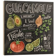"""Chalkboard Art - """"Guacamole Handlettering"""" wall art by Lily and Val available at Great BIG Canvas. Chalkboard Designs, Chalkboard Art, Chalkboard Pictures, Chalkboard Printable, Chalkboard Drawings, Lily And Val, Chalk Lettering, Chalk Art, Kitchen Art"""
