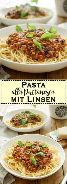 Die Zutaten für diese Pasta alla Puttanesca mit Linsen sind typisch für die italienische Küche: Tomaten, Oliven, Kapern, und Knoblauch. Die Ausnahme sind die roten Linsen. Dieses einfache und schnelle Rezept hat einen leicht würzigen und salzigen Geschmack. Mit Sardellen kommt auch noch Umami, die fünfte Geschmacksrichtung dazu. Mit einem grünen Salat und einem Ciabatta Brot als Beilage macht Ihr alles richtig für ein Comfort Food, das Euch ein wohliges Gefühl gibt. Einfache, Gesunde Rezepte…