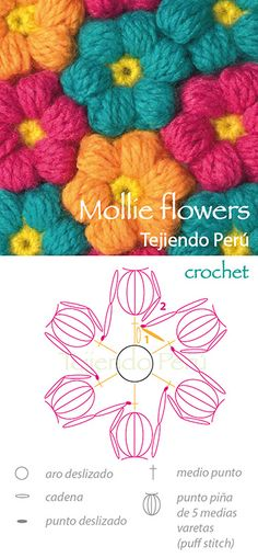 Crochet Mollie flowers pattern (diagram)~k8s~