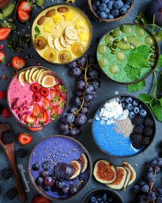 Terrific Pic That& a colorful smoothie bowl picture! Ideas Smoothie Recipes tasty and healthy… There are therefore several recipes floating on the interne Vegan Smoothies, Fruit Smoothies, Smoothie Recipes, Rainbow Smoothies, Brunch, Food Goals, Aesthetic Food, Breakfast Bowls, Base Foods