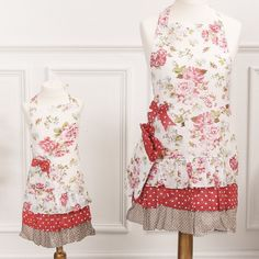 A beautiful vintage style apron complete with oven glove, look the part with this ladies red polka dot, floral and frilly apron. Perfect for baking delicious home treats whilst looking fabulously chic. There is also a child's apron to match, making this a great gift idea for a mother and daughter. Each apron sold separately.