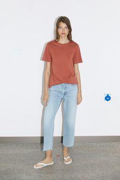 BASIC T - SHIRT-BASICS-WOMAN | ZARA United Kingdom Zara Women, Neck T Shirt, Coral, Short Sleeves, Normcore, Female, United Kingdom, Cotton, Mood