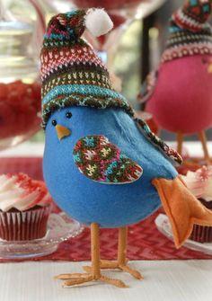 Blue Felt Bird Ornament:
