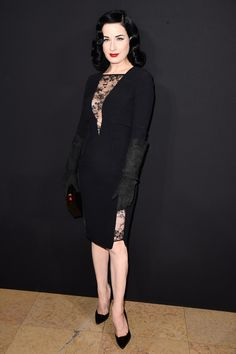 Dita von Teese - Front Row At Elie Saab Spring 2015 Haute Couture show on January 28, 2015 in Paris