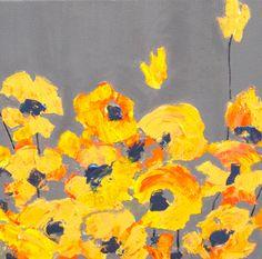 ORIGINAL YELLOW POPPY painting, california poppy, poppy flowers- abstract 8x8 grey yellow modern art by devikasart by devikasart on Etsy