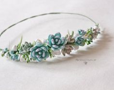 Wedding succulent ranunculus headband Bridal by CoolClayFlowers