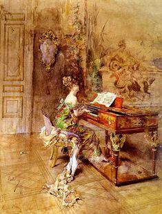 The Lady Pianist, Giovanni Boldini Medium: oil,canvas Giovanni Boldini, John Singer Sargent, Italian Renaissance, New Artists, Erotic Art, Beautiful Paintings, Impressionism, Art History, Photo Art