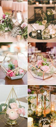 Metal geometric shape with white and pink flowers and crystal votive cups wedding centerpieces wedding décor wedding decorations weddings wedding centerpieces Unique Wedding Centerpieces, Lantern Centerpiece Wedding, Diy Wedding Decorations, Floral Centerpieces, Unique Weddings, Engagement Party Centerpieces, Wedding Ideas, Crystal Wedding Decor, Rustic Table Centerpieces