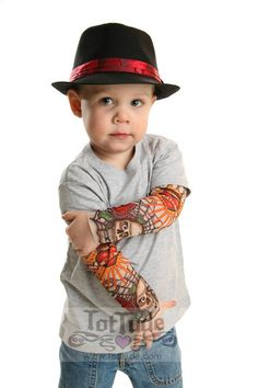 Tattoo Sleeve Gray T Shirt for Babies and Toddlers by TotTude, $24.00