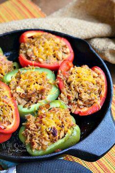 Chicken Fajita Stuffed Peppers | from willcookforsmiles.com #stuffedpeppers #chicken #chickenrecipe