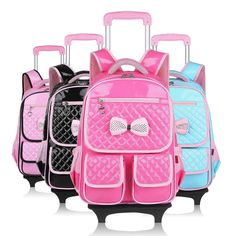 69.80$  Watch now - http://ali8lm.worldwells.pw/go.php?t=32698220239 - girls school backpack with wheels kids travel trolley bag pink wheeled bag pu leather children school bags for teenagers backbag