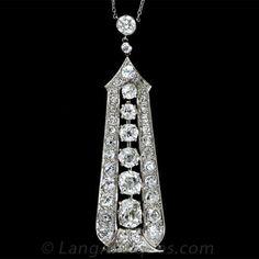 Fabulous Art Deco Platinum Diamond Pendant Necklace