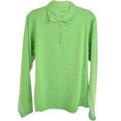 San Soleil Womens Long Sleeve with Swarovski Zipper Pullover  Green  #900403