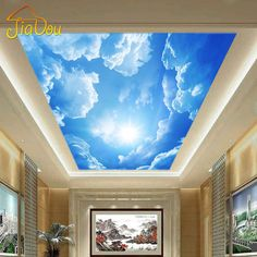 Modern 3D Photo Wallpaper Blue Sky And White Clouds Wall Papers Home Interior Decor Living Room Ceiling Lobby Mural Wallpaper(China (Mainland))