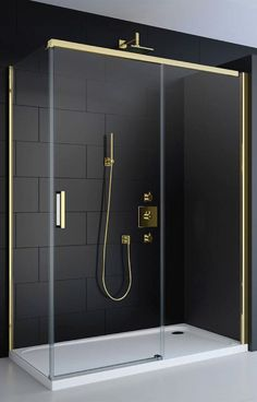 Instantly create a refined, opulent look with a black and gold wet room shower enclosure. Instantly create a refined, opulent look with a black and gold wet room shower enclosure. Bad Inspiration, Bathroom Inspiration, Bathroom Interior Design, Bathroom Styling, Shower Tile Designs, Shower Tiles, Bathroom Designs, Bathroom Shower Enclosures, Bathroom Showers