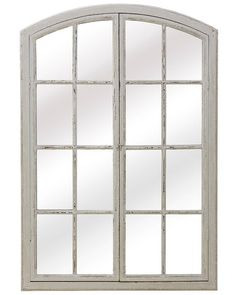 A charming large window pane mirror in wood with an aged white paint finish. Two wooden frame paned doors overlay the mirror. These are hinged and can be left closed with a metal latch, or displayed open to enhance the effect of a real window. Quirky Wall Mirrors, Decorative Mirrors, Window Pane Mirror, Paint Finishes, Large Windows, White Paints, Wooden Frames, Contemporary, Overlay