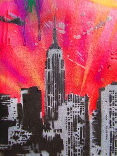 city skyline art on pinterest skyline painting. Black Bedroom Furniture Sets. Home Design Ideas