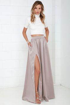 Taupe Maxi Skirt