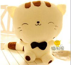 18.5 Inches Hot Bright Color Stuffed Plush Lovely Light Yellow Cat Soft Toy #Handmade