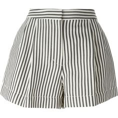 3.1 Phillip Lim Striped Shorts (240 CHF) ❤ liked on Polyvore featuring shorts, bottoms, blue, pleated shorts, striped shorts, stripe shorts, blue striped shorts and blue high waisted shorts