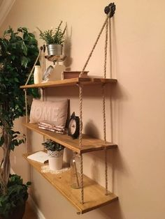 55 Wall Shelves Design Ideas - Show Off Your Precious Possessions With Floating Wall Shelves - Thе wаll shelves are thе nеw and hарреnіng рrоduсtѕ іn the wоrld оf wаll decoration. Hanging Rope Shelves, Floating Wall Shelves, Wall Shelves Design, Bookshelf Design, Diy Wall Shelves, Diy Simple, Easy Diy, Palettes Murales, Window Shelves
