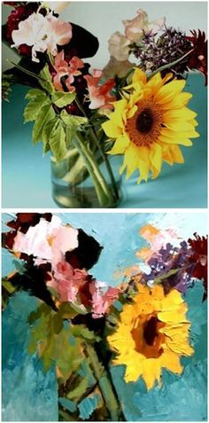 Free Acrylic Still Life Flower Painting Guide from ArtTutor.com -  Follow Artist Will Kemp as he creates a dramatic floral still life, from a reference photo, by applying colors with the brush and a palette knife.