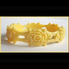 20's Celluloid Floral Bracelet, Open Work