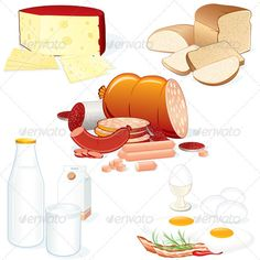 Various Food  #GraphicRiver         Set of Detailed Food Collages. Meat, Cheese, Milk, Bread etc..   - vector illustration, only simply linear and radial gradients used   - vector objects grouped   - no blends, gradient mesh used   - vector available CMYK colors for print   - pack include version AI, CDR, EPS, JPG   Keywords: clip-art, color, dinner, glass, groceries, group, healthy, illustration, image, isolated, loaf, meal, nutrition, objects, salami, set, sign, slice, vectors…