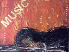guitar, musicm red, orange, black abstract print of my original painting lisa adame via Etsy