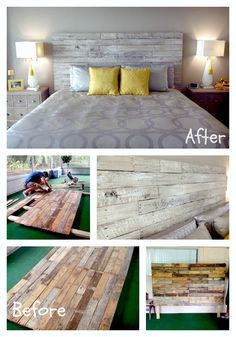Bedroom Styles:Beautiful distressed, solid wood platform headboard. Built by hand. The perfect blend of beauty, simplicity, and integrity. You specify the stain color.   Headboards are made to order!  #headboard #woodpallets #recycle #bedroom  Check out more on https://www.facebook.com/Josesanchezartinc