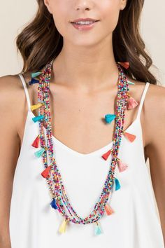Summer Beaded Necklace with Mini Tassels