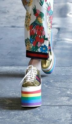 new arrivals 27d76 7a8a9 Gucci Just Sent a Rainbow Version of One of Our Fave  90s Shoes Down the  Runway