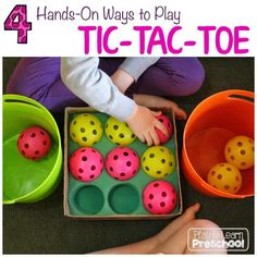 Play to Learn Preschool - Tic Tac Toe we use in preschool classroom and it's easy and fun first board for kids!
