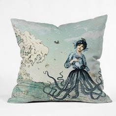 Deny Designs Belle13 Sea Fairy Throw Pillow (26 x 26 - Oversized), Multi (Polyester, Graphic Print)