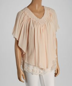 Take a look at the Pale Pink Lace Crochet V-Neck Top on #zulily today!