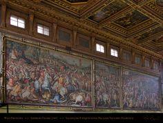 Florence, Palazzo Vecchio, Salone dei cinquecento, Vasari West Frescoes