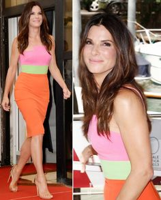 bright summer outfit Sandra Bullock Alex Perry dress Venice   My color inspiration for my Honeysuckle Soap.