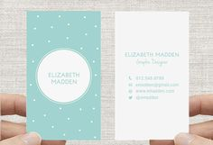 Polka Dot Business Card. Spots Confetti Calling by inmystudioo