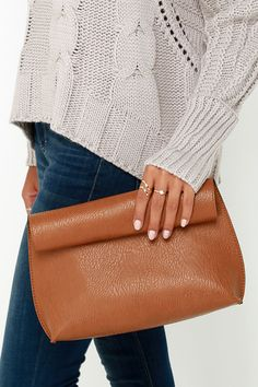 Rolled Reversible Tan Clutch