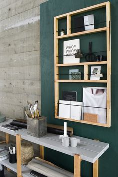 Would be so easy to build this shelf/rack! Great option to add some depth to design in small spaces.