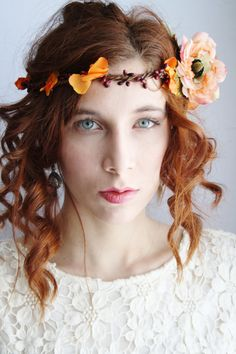 Flower crown Festival floral crown Rustic bridal circlet boho hippie flower halo Woodland wedding flower crown elven flower headband JUNE