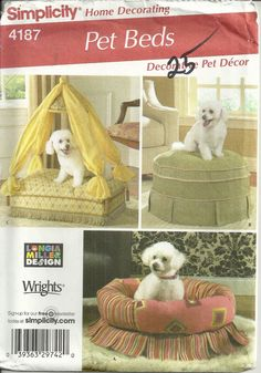 Pet Beds Pattern Simplicity 4187 Home Decorating, Cat, Dog