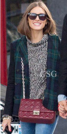 Olivia Palermo wore the Tibi Ringo Plaid Blazer with Johannes Huebl left Gemma restaurant in East Village NY. Oct 8, 2012