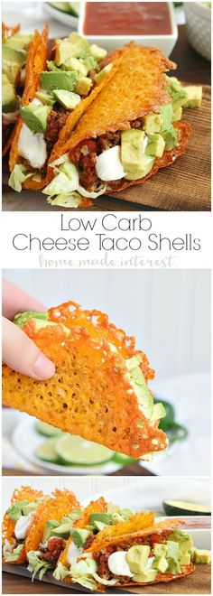 Have a low carb taco night with these cheese taco shells made from baked cheddar cheese formed into the shape of a taco! Stuff your low carb taco with ground chorizo and ground beef cooked in Rotel and topped with diced avocado and sour cream. This is a great low carb Cinco de Mayo recipe! #YesYouCAN #ad